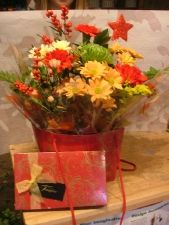 Christmas Floral Arrangement with free chocolates